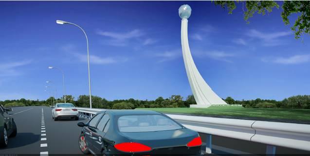 Biểu tượng đường cao tốc Hà Nội – Hải Phòng (phối cảnh thiết kế)