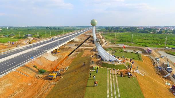 Biểu tượng đường cao tốc Hà Nội – Hải Phòng (ảnh thi công thực tế)