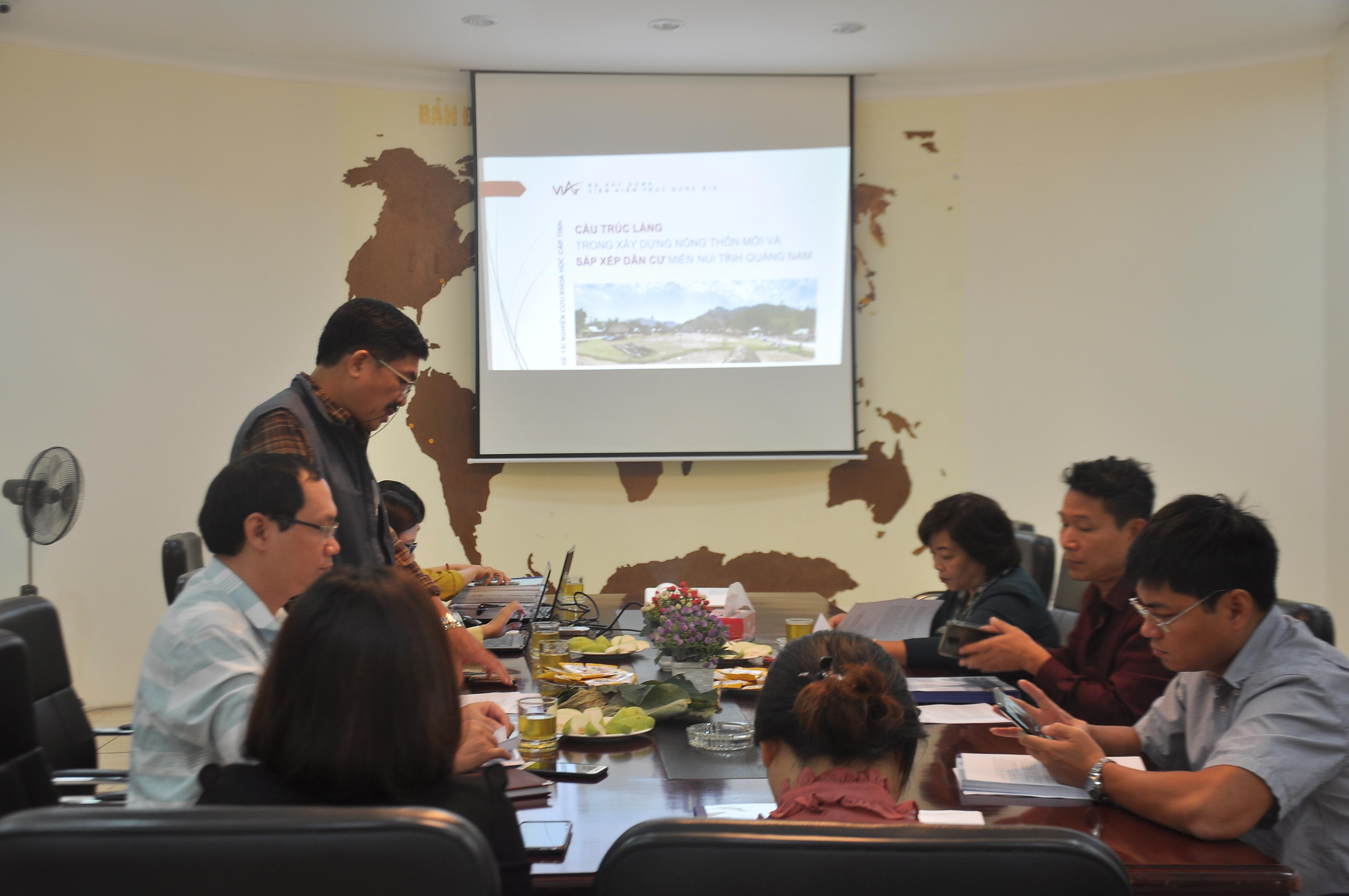 """Nghiệm thu đề tài """"Cấu trúc làng trong quá trình xây dựng nông thôn mới và sắp xếp dân cư miền núi tỉnh Quảng Nam"""""""